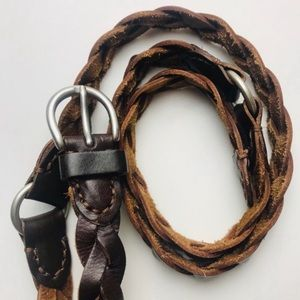 Other - Brown Leather Braided Belt Silver Segmented Unisex